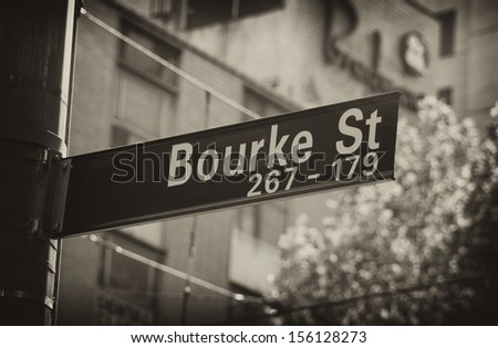 bourke street sign closeup in melbourne - stock photo