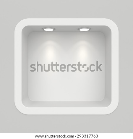 Boutique in the top wall with light sources. 3d render - stock photo