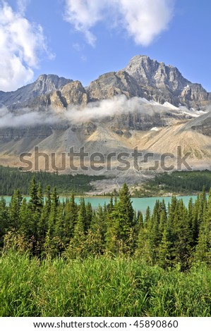 Bow Lake, Icefields Parkway, Alberta, Canada in Summer Vertical - stock photo
