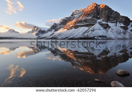 Bow Lake sunrise, Banff National Park in Alberta - stock photo