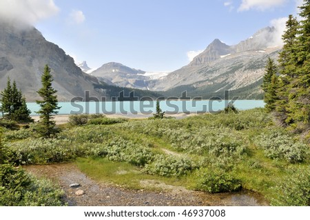 Bow Lake With Bow Glacier in the Background Horizontal - stock photo