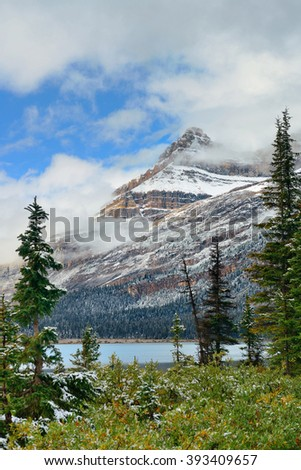 Bow Lake with snow capped mountain and forest in Banff National Park - stock photo