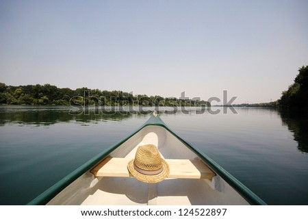 Bow of a canoe on the river Sava near Belgrade , Serbia, canoeing concept - stock photo