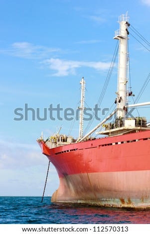 Bow of an anchored vessel - stock photo