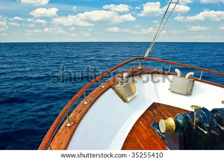 Bow of Pleasure boat sailing the Aegean sea - stock photo