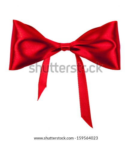 bow of red ribbon on white background - stock photo