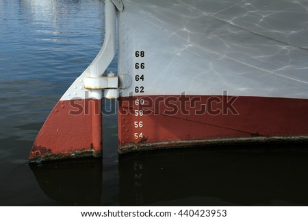bow of ship with draft scale numbering - stock photo