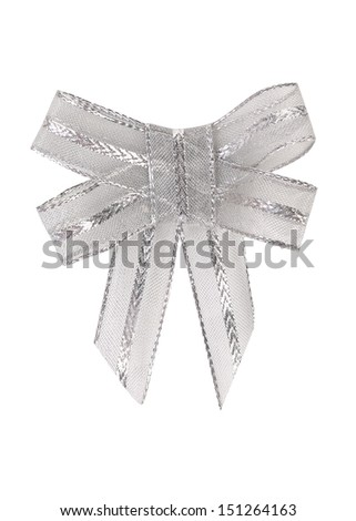 Bow of silver ribbon - stock photo