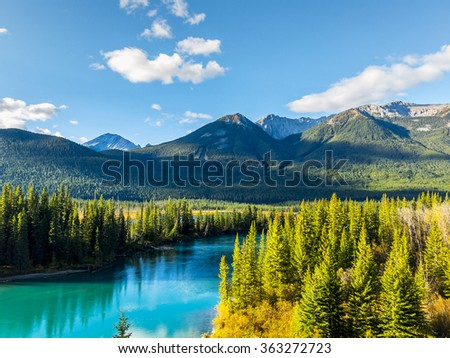 Bow River in Banff National Park - stock photo