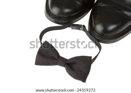 bow-tie and black shoes - stock photo