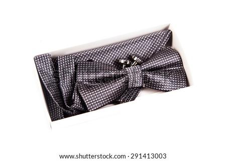 Bow tie, handkerchief and cufflinks. Wedding accessories groom - stock photo