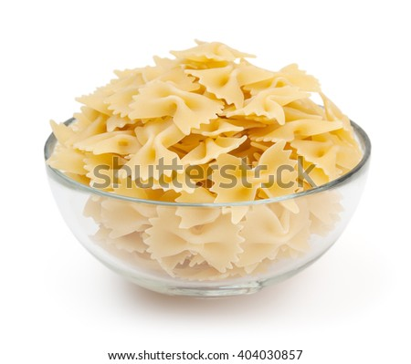 Bow tie pasta isolated on white background with clipping path - stock photo