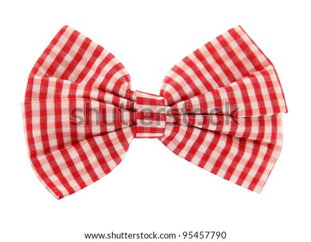 Bow tie red white plaid - stock photo