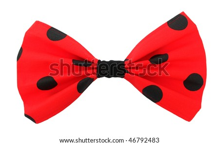 Bow tie red with black spots - stock photo