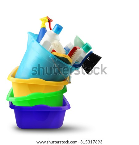 Bowl detergents and cleaning bucket - stock photo
