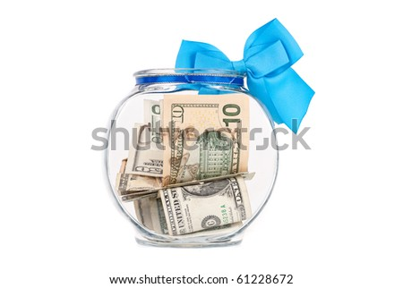 Bowl Filled with Money for Charity - stock photo