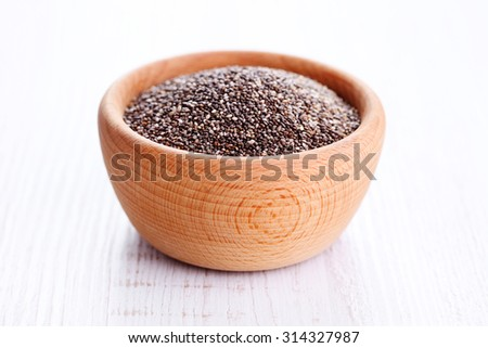 bowl full of chia seeds - food and drink - stock photo