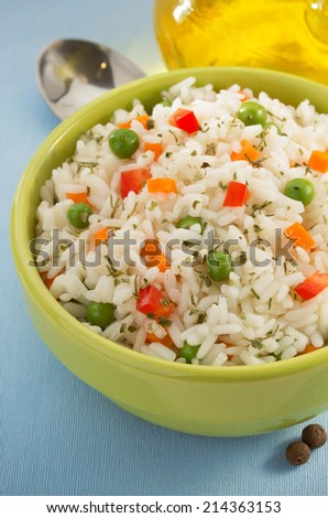 bowl full of cooked rice - stock photo