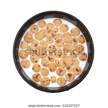 Bowl full of honey corn cereals - breakfast - stock photo