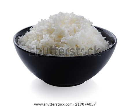 bowl full of rice on white background - stock photo