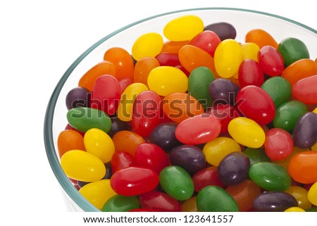 Bowl of assorted jelly beans - stock photo