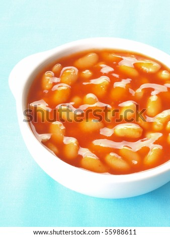 bowl of baked beans - stock photo