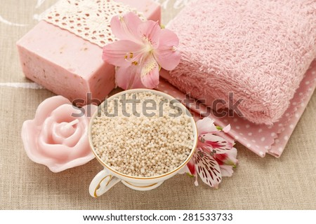 Bowl of bath sea salt - stock photo