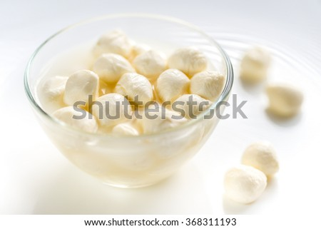 Bowl of Bocconcini mozzarella - stock photo