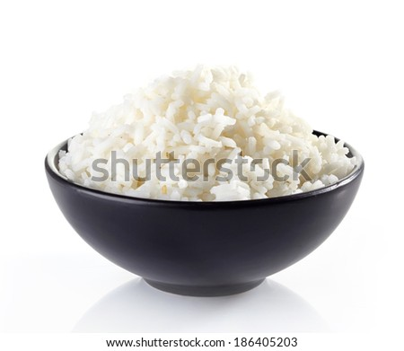 bowl of boiled rice isolated on a white background - stock photo