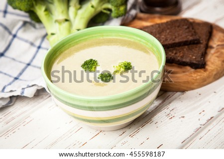 Bowl of broccoli soup - stock photo