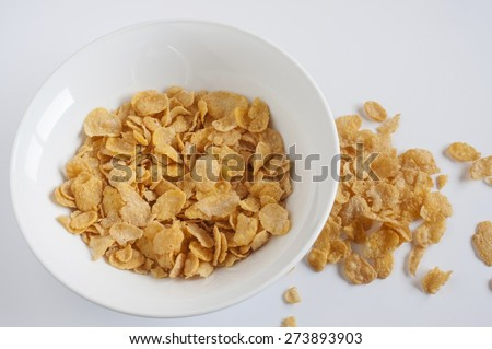 Bowl of cereal for breakfast - stock photo