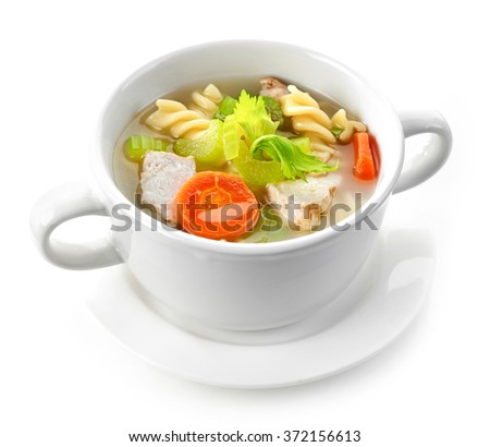 bowl of chicken and vegetable soup isolated on white background - stock photo