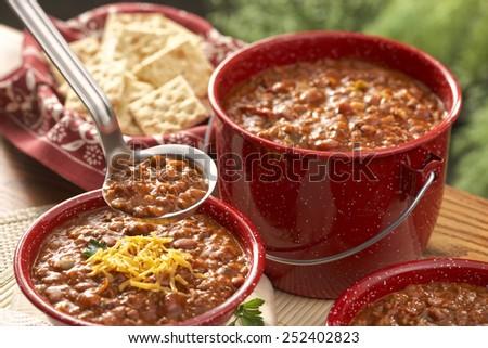 Bowl of chili - stock photo