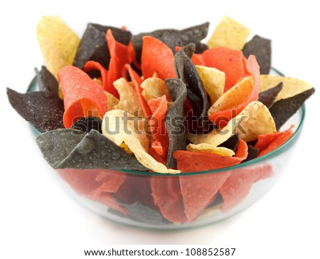 Bowl of chips-mexican style. Mexican style bowl of colored chips on white background - stock photo