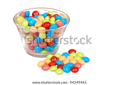bowl of colorful fruit candy - stock photo
