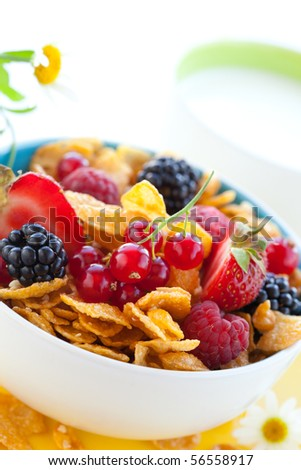 bowl of cornflakes with milk and fruits - stock photo