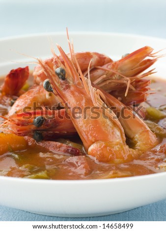 Bowl of Creole Shrimp Gumbo - stock photo