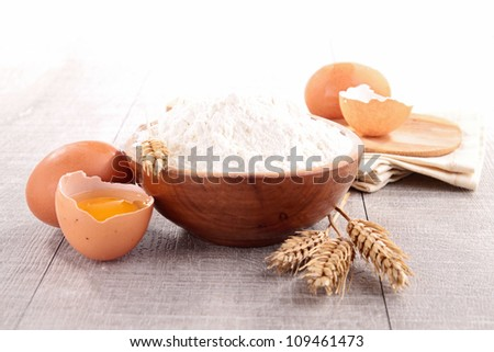 bowl of flour and ingredient - stock photo