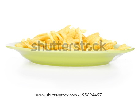 bowl of french fries or chips, isolated on white with clipping path provided - stock photo