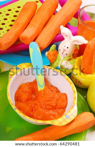 bowl of fresh grated carrot as homemade baby food - stock photo