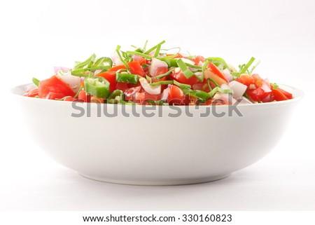 Bowl of  fresh homemade  tasty tomato  salsa dip, - stock photo