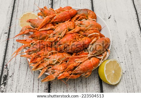Bowl of fresh hot Boiled Crawfish  - stock photo