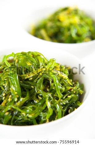 Bowl of  Healthy Seaweed Salad Isolated on White - stock photo