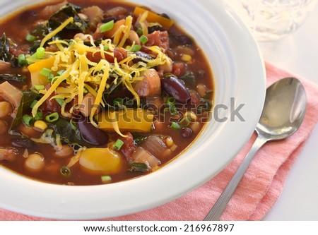 Bowl of healthy vegetable chili  with cheese in horizontal format - stock photo