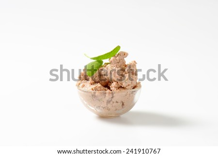Bowl of homemade meat pate - stock photo