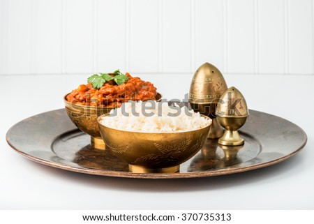 Bowl of Indian basmati rice as part of a meal. - stock photo