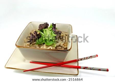 Bowl of Japanese udon noodles on white background - stock photo
