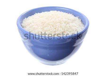 Bowl of Jasmine Rice on White Background - stock photo