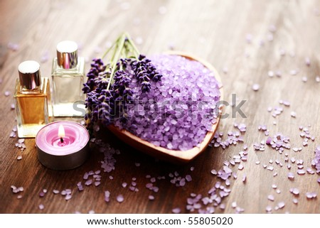 bowl of lavender bath salt and massage oil - beauty treatment - stock photo