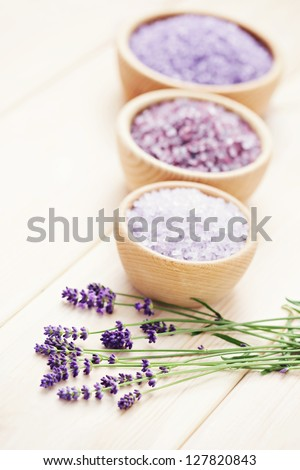 bowl of lavender bath salt - beauty treatment - stock photo
